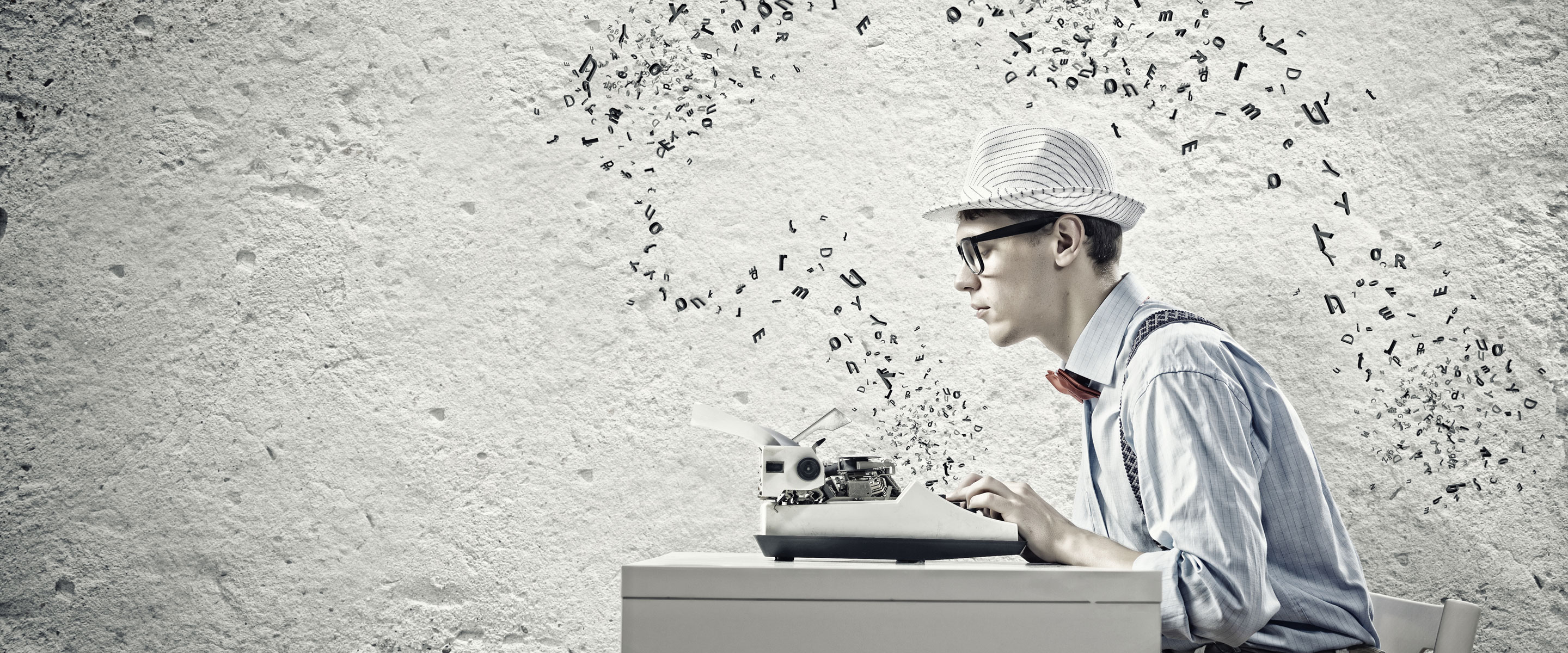 guy with typewriter